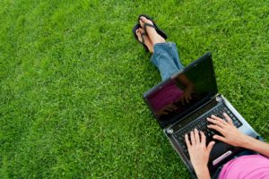 financial education from a laptop on the go